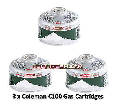 Coleman C100 Gas Cartridge Pack Of 3, Self Sealing Can With Safty Valve