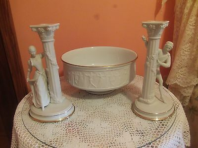 Romeo and Juliet Bowl and Candlesticks