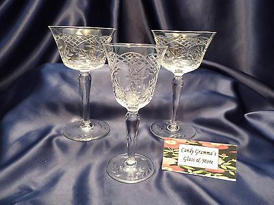 Vintage polish cut crystal wine glass set of two and one cordial glass