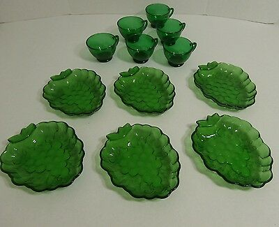 Forest Green Glass Snack Plates Punch Cups Set of six Vintage