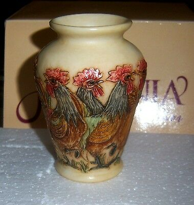 Harmony Kingdom Jardinia EARLY CALL  #JALRCO RETIRED New Old Stock Vase Roosters