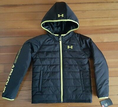 New Under armour Active full zip Hoodie Black Yellow Jacket coat size 7 w/tag