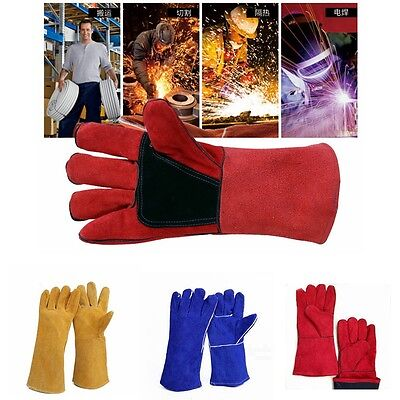 1 Pair Welding Heat Insulation Safety Protective Leather Gloves Newest 4 Colors