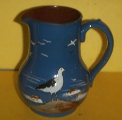 Devon  / Torquay Ware Jug  -  Large  -  Deep Blue With Seagull Decoration