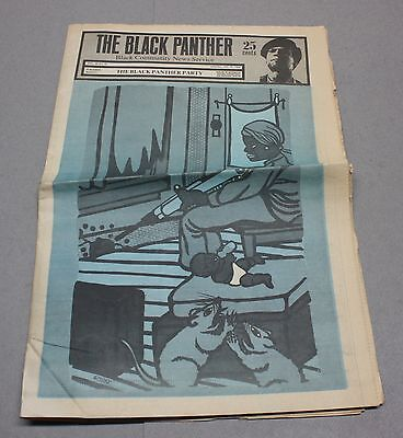 Vintage 1969 Black Panther Party Newspaper w/ Emory Douglas Cover Art