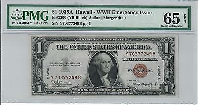 1935-A $1 Wwii Emergency Issue Hawaii Silver Certificate Pmg Gu 65 Epq Yb Block