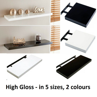 Modern HIGH GLOSS Floating Wall Shelves White and Black Bookcase Display Shelf