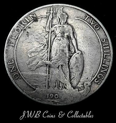 1904 King Edward VII Silver Florin / Two Shillings Coin.  - Ref;H/D