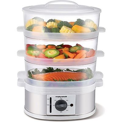 Morphy Richards 3 Tier Stainless Steel Electric Food Steamer Set 60 Minute Timer