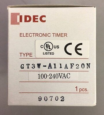 NEW IDEC GT3W-A11AF20N 100-240VAC 8-Pin SPDT Electronic Time Delay Timer Relay