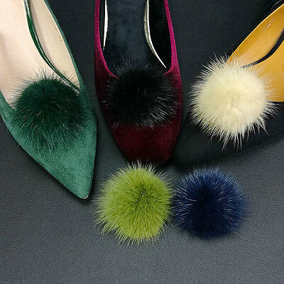 Pair Mink Fur Pom Pom Shoe Clip Fluffy Winter Furry Heels Boots Cute Decor Small