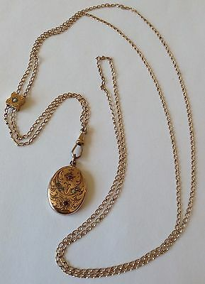 Victorian Gold Filled Opal Watch Slide Chain Necklace With Locket