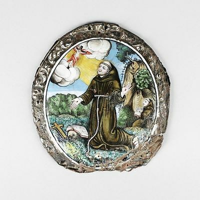 Very Rare 18th Century Limoges Enamel of Saint Francis by Baptiste Nouailher