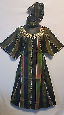 Womens Clothing African Kente Print Maxi Dress Long Dashiki Kaftan Free Size