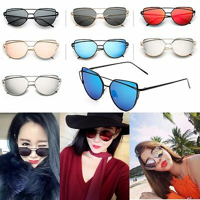 mirrored womens sunglasses wkli  Womens Oversized Cat Eye Sunglasses Fashion Flat Lens Mirrored Metal Frame  HOT
