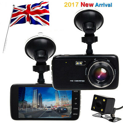 """Genuine 4"""" HD 1080P Car DVR Front and Rear Cameras Recorder Vehicle Dash Cams UK"""