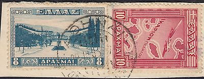 Greece 1933/4 10d Red Air and 8d Blue Athens Stadium on Piece
