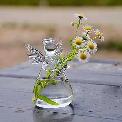 Cute Glass Angel Shape Flower Plant Hanging Vase Container Wedding Decor