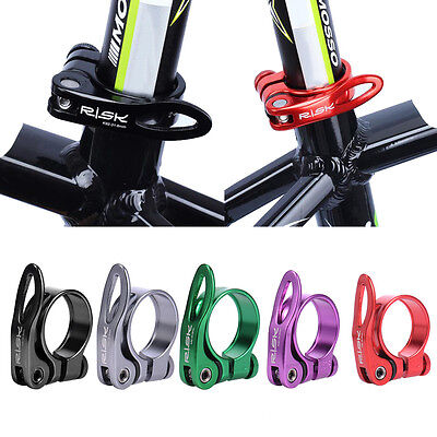 Bike Bicycle Quick Release Seat Post Seatpost Clamp Aluminium Alloy Black 34.9mm