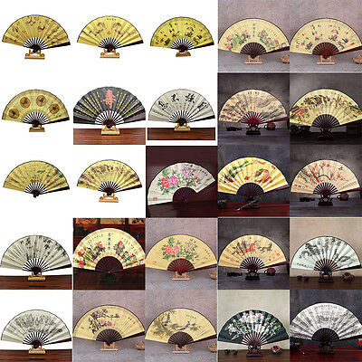 1x Chinese Japanese Silk Folding Hand Held Pocket Fan Party Dance