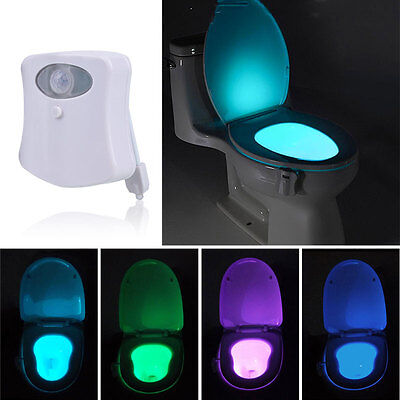 Motion Sensor 8-Color Automatic Seat LED Night Light For Toilet Bowl Bathroom