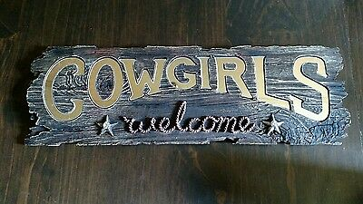 Rustic Western Cowgirls Welcome Sign /Metal Accent/Stars