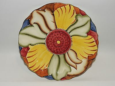 "H J WOOD BURSLEM Flower Plate Art Deco RAISED PATTERN 8 3/4"" C1920s GREAT COND"