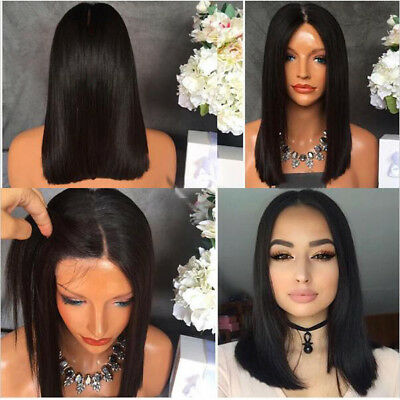 "14"" Short Straight Natural Black Heat resistant Synthetic Lace Front Wig"