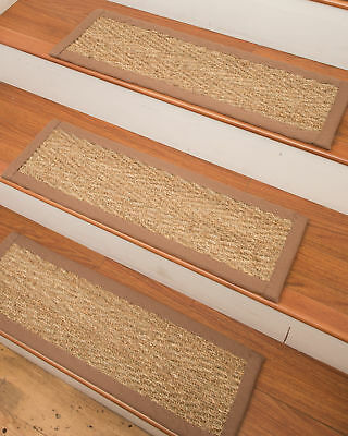 Natural Area Rugs Beach Seagrass Carpet Beige Stair Tread Set of 13
