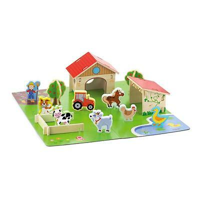 Wooden Farm House Playset & Wood Figures People Animals Barn Childrens/Kids Toy