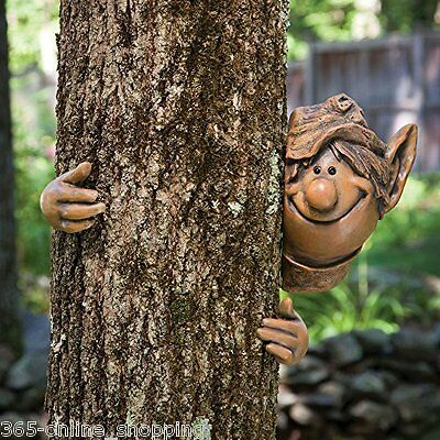 Garden Elf Tree Peeker Novelty Garden Ornament Decoration Funny Face Fence Shed