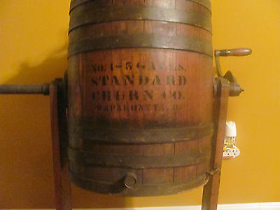 Wooden 5 Gallon Butter Standard Churn Co. No.1 Wapakoneta, O #1254