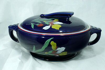 Hall Blue Garden Sundial Floral Covered Casserole Lid 1.5 Qt