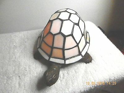 White Stained Glass Turtle Nightlight / Lamp With Cast Brass Base.