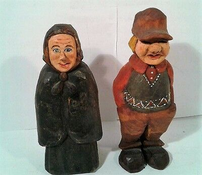 """Vintage Hand Carved Wood Figures """"Couples Outing"""""""