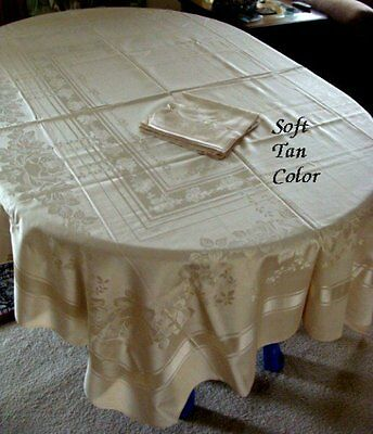"TOP QUALITY Unused Vitg MERCERIZED Damask Tablecloth 90"" 8 Nap ROSES Tan Color"