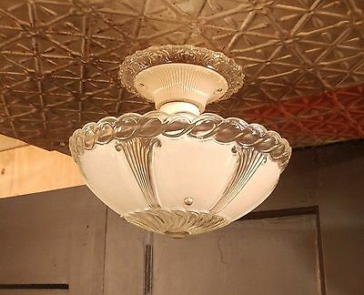 Vintage 3-Chain Hanging Ceiling Light Fixture w/ Frosted Glass Shade Art Deco