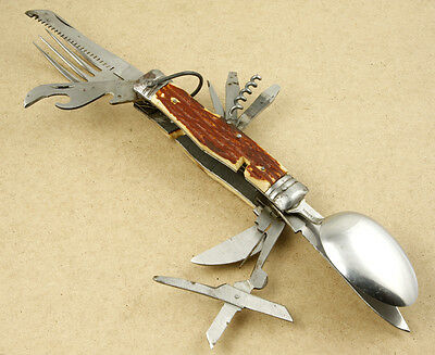 Vintage Camping Multi Tools Utensils Folding Knife Made in Japan