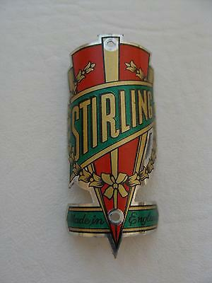 ~ NOS Vintage STIRLING Bicycle Head Badge Made in England ~