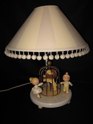 Vintage Wooden Nursery Baby Lamp Light ~ Yellow Boy & Girl & Lion ~ Cute!