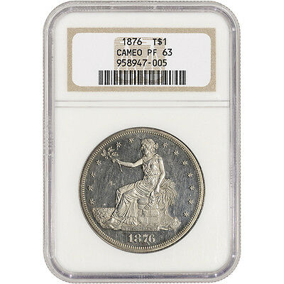 1876 US Silver Trade Dollar Proof T$1 - NGC PF63 Cameo