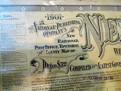 """114 YEAR OLD ROLLING SCHOOL MAP OF NEW YORK STATE 48"""" X 42"""" year1901"""