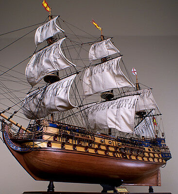 "SAN FELIPE 48"" large scaled wood model ship tall Spanish boat"