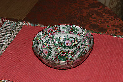 Chinese Asian Famille Rose Bowl-Lovely Color Patterns-Signed Bottom