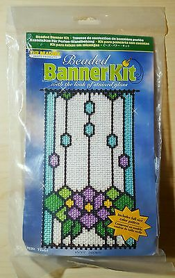 The Beadery Craft Violet Beaded Banner Kit 5251 Purple Green Clear Blue Sealed