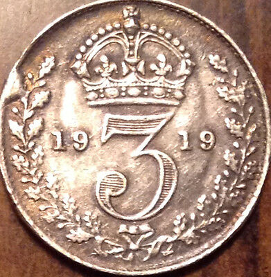 1919 Gb Uk Silver Threepence In Good Condition