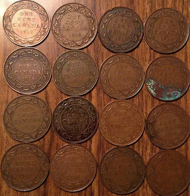 Lot Of 16 Canada Large Cents Lot Of 16 Coins King George V #tc