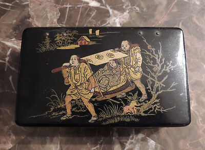 Antique Asian Chinese Black Lacquer Wood  Box Gilt Figures Box