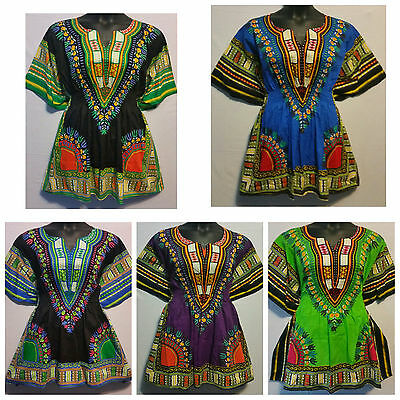 Woman African Dashiki Print Poncho Top Shirt Elastic Waist Short Dress One Size