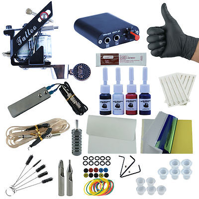 Complete Starter Tattoo Kit 1 Machine Gun 4 Color ink 10 Needle Power Supply Set